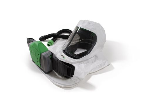 RPB T-Link Respirator, includes: 17-712 Tychem QC Hood, Hard Hat Assembly, 04-835 Breathing Tube, 03-901 PX4 PAPR