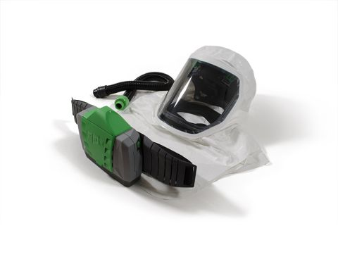 RPB T-Link Respirator, includes: 17-713-S Tychem SL Hood, Safety Lens, Hard Hat Assembly, 04-835 Breathing Tube, 03-901 PX4 PAPR